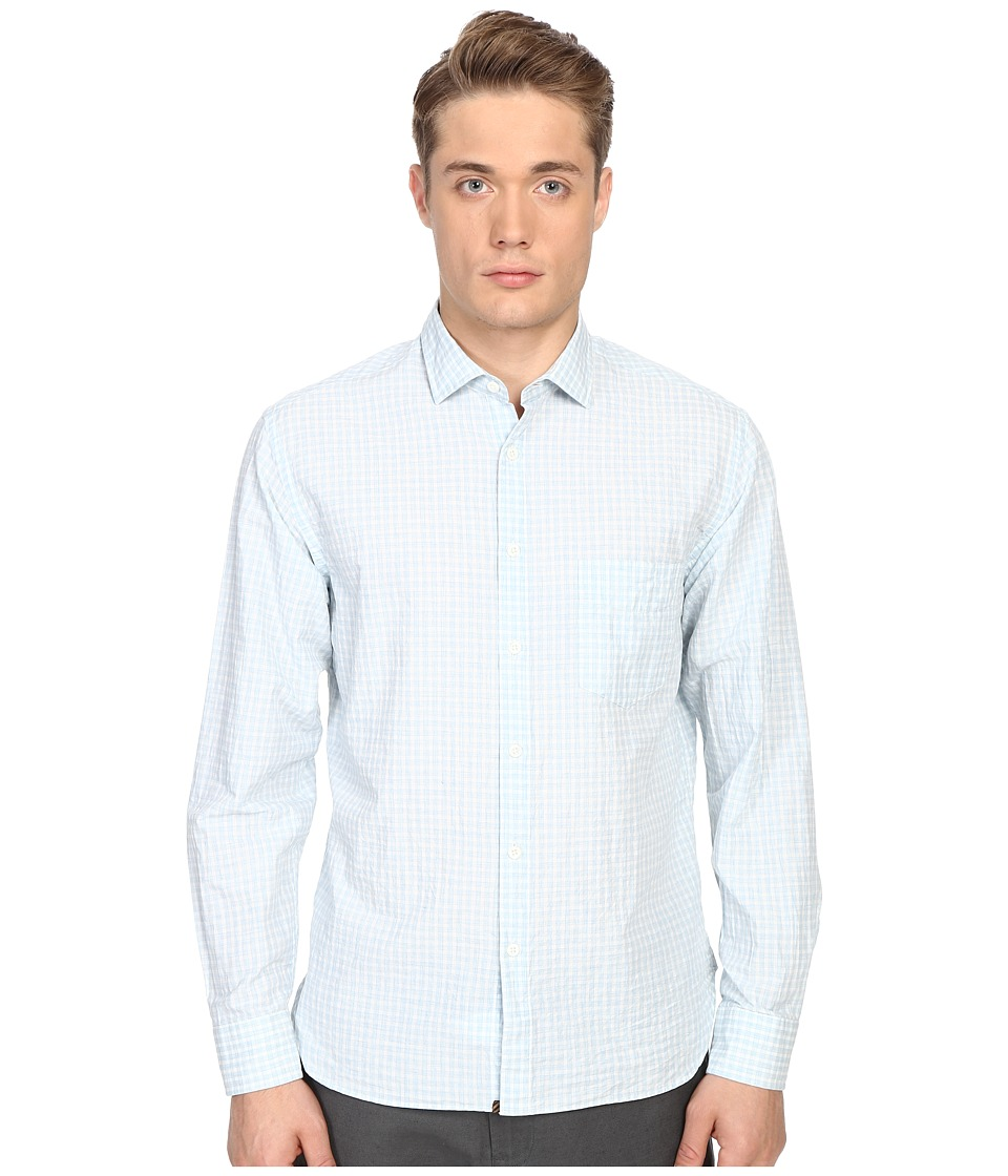 Billy Reid John T Shirt Button Up Light Blue/White Mens Long Sleeve Button Up