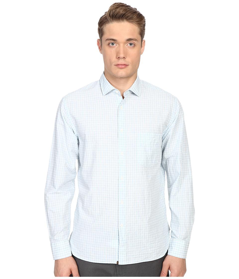 Billy Reid John T Shirt Button Up Light Blue/White Mens Long Sleeve Button Up