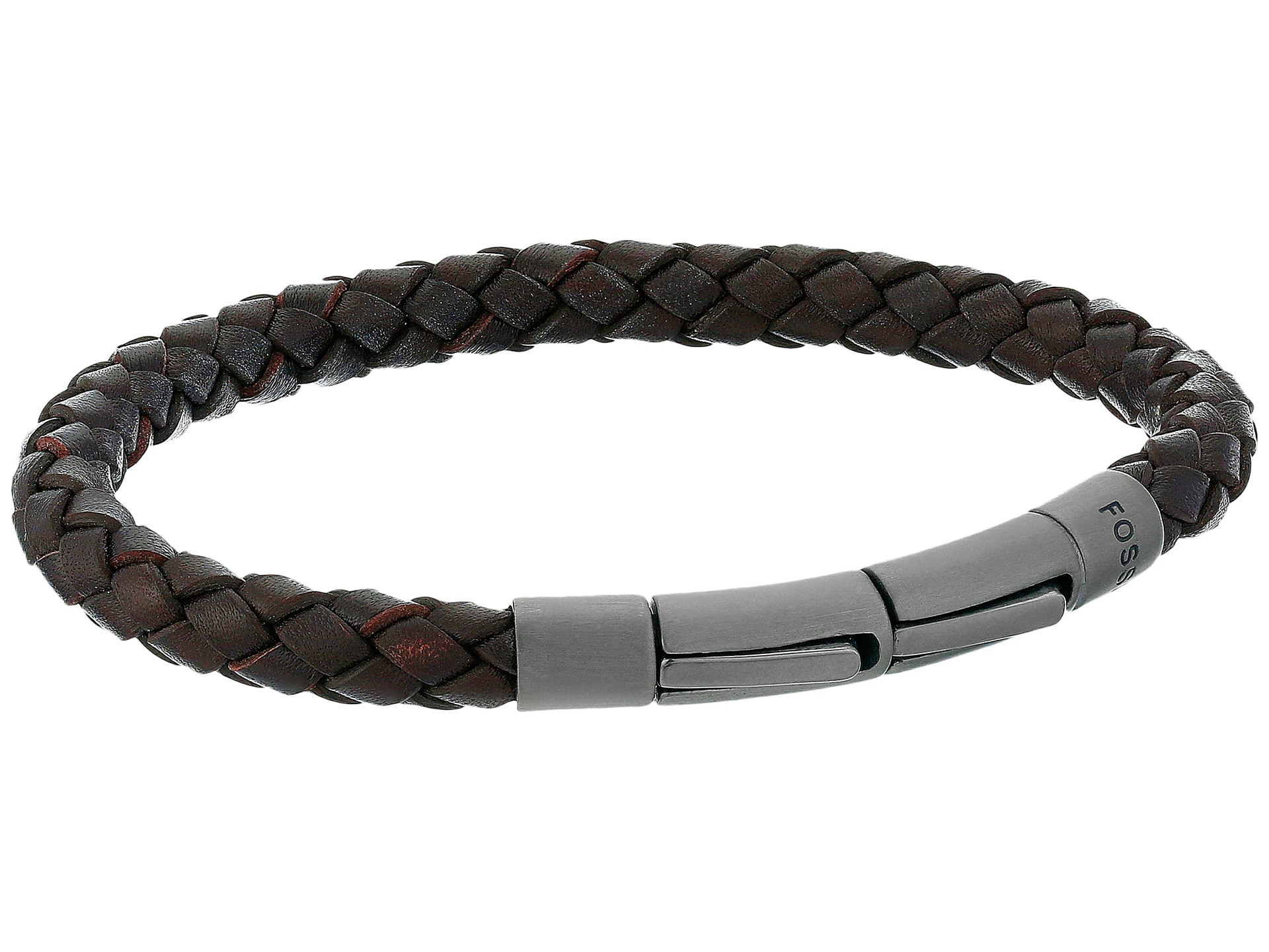 fossil braided leather cord bracelet at zappos