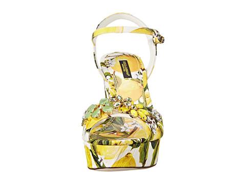 Dolce Amp Gabbana Sandalo Zeppa Broccatto Limoni Fondo