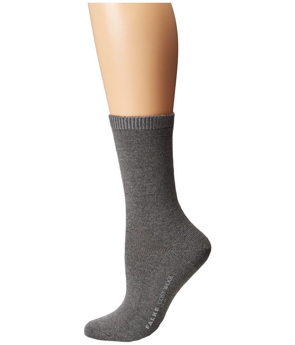Falke Cosy Wool Sock Light Grey Womens Crew Cut Socks Shoes