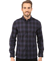 Kenneth Cole Sportswear - Long Sleeve Button Down Collar Slim Ombre Plaid
