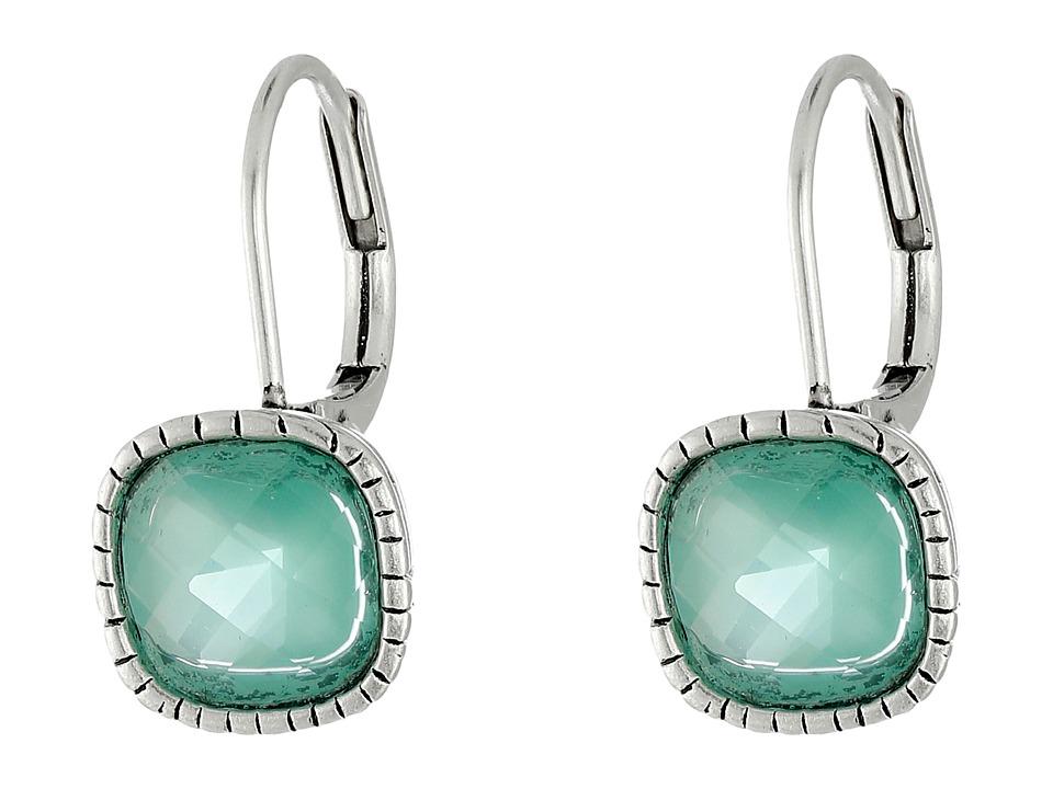 The Sak - Cushion Stone Leverback Earrings (Aqua) Earring