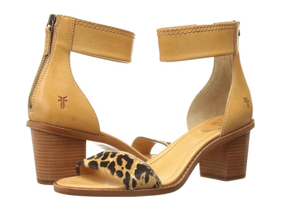 Frye - Brielle Back Zip Sandal (Leopard Haircalf/Smooth Full Grain) High Heels