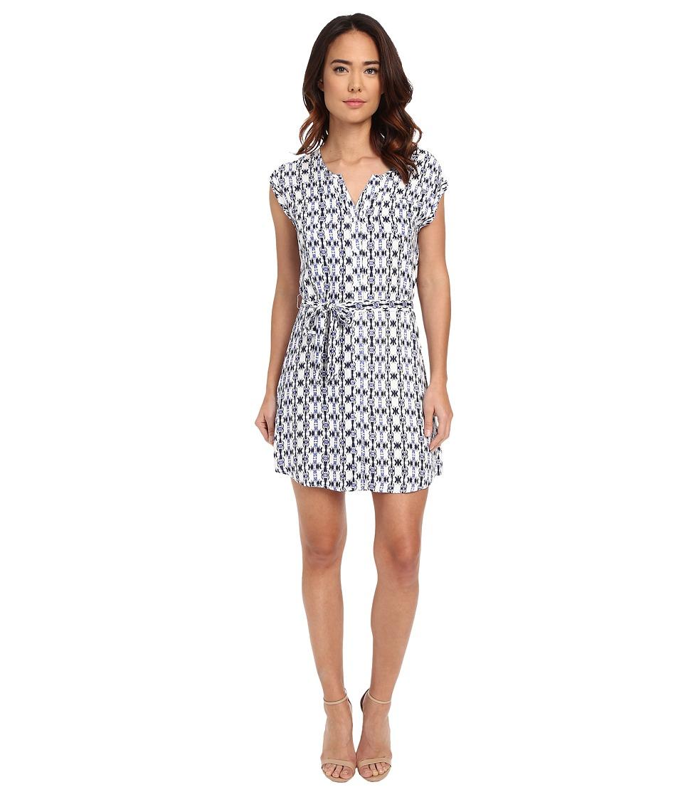 Jack by BB Dakota Lottie Inkblot Stripe Printed Rayon Crepe Shirtdress Multi Womens Dress
