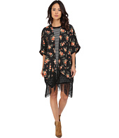 Jack by BB Dakota - Rosalynn Rose Revival Printed Crepon and Black Fringe Kimono