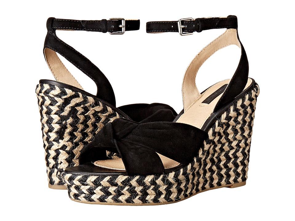 Frye Charlotte Twist Ankle Sandal Black Suede Womens Wedge Shoes