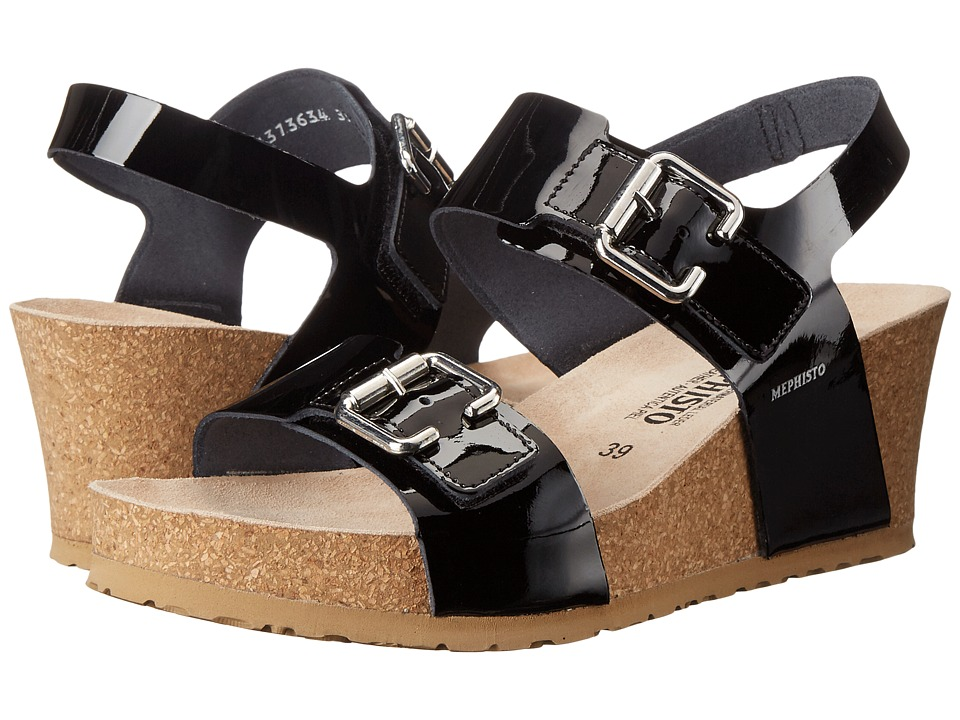 Mephisto - Lissandra (Black Patent) Womens Wedge Shoes