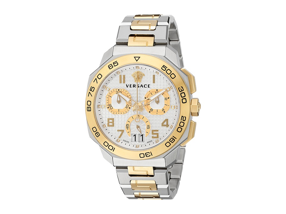 Versace Dylos Chrono VQC03 0015 Stainless Steel/Yellow Gold Watches