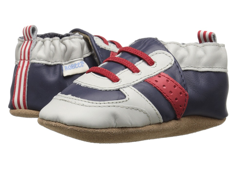 Robeez Super Sporty Soft Sole (Infant/Toddler) (Navy/Red) Boys Shoes