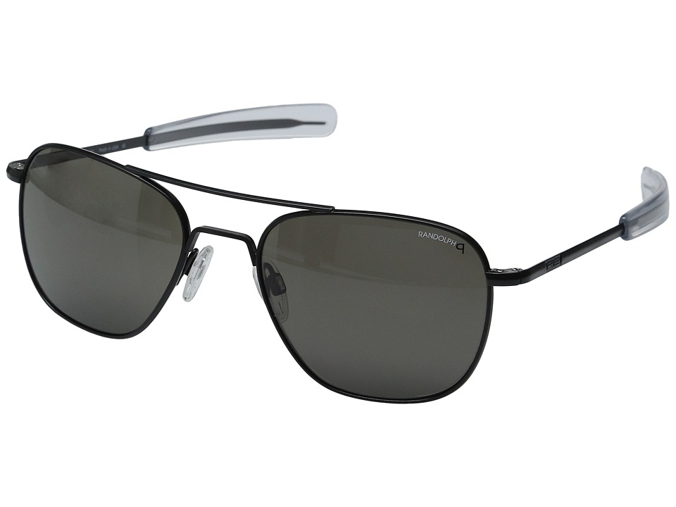 Randolph Aviator 55mm Polarized Matte Black/Gray Polarized Fashion Sunglasses
