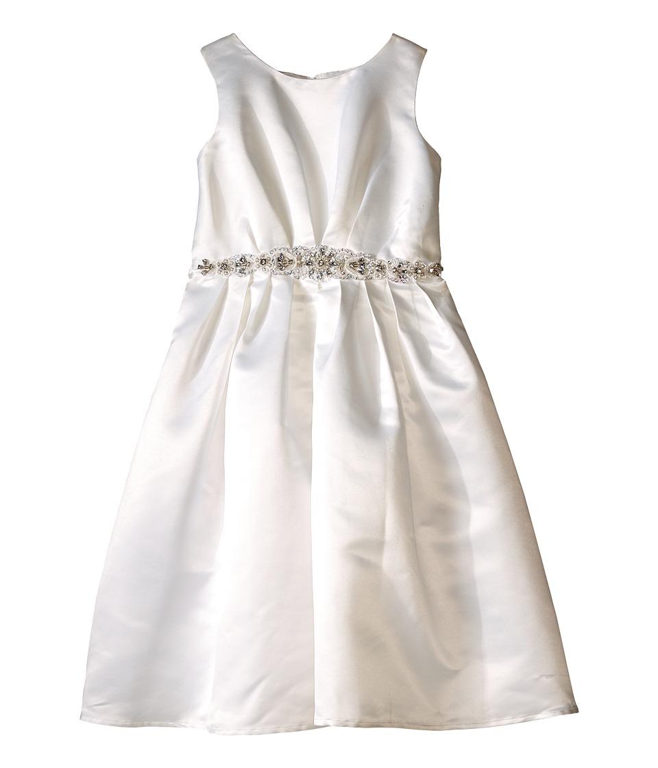 Us Angels - Sleeveless Satin Dress w/ Beaded Pleated Waist Full Skirt