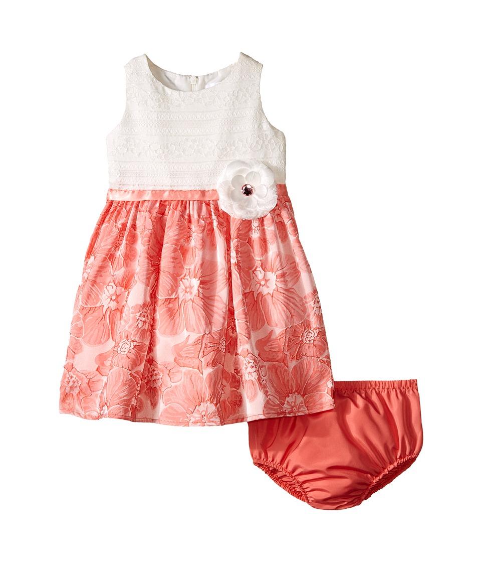 Us Angels Brocade Lace Sleeveless Dress w/ Satin Ribbon Trim Infant Coral Girls Dress