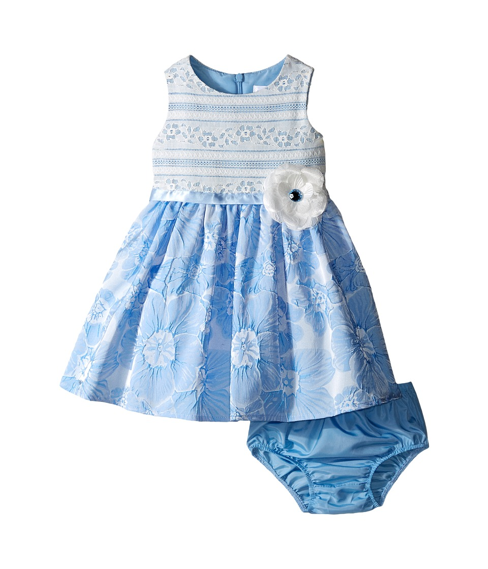 Us Angels Brocade Lace Sleeveless Dress w/ Satin Ribbon Trim Infant Blue Girls Dress