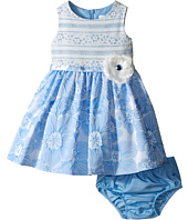 Us Angels - Brocade Lace Sleeveless Dress w/ Satin Ribbon Trim (Infant)