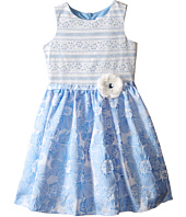 Us Angels - Brocade Lace Sleeveless Dress w/ Satin Ribbon Trim (Toddler/Little Kids)