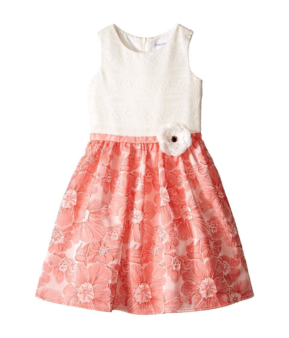 Us Angels Brocade Lace Sleeveless Dress w/ Satin Ribbon Trim Toddler/Little Kids Coral Girls Dress