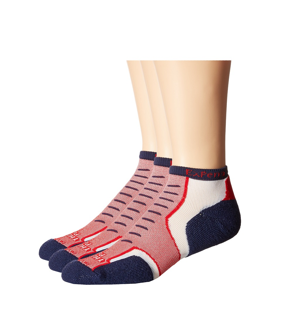 Thorlos Experia Nantucket Micro Mini 3 Pair Pack Cottage Red Crew Cut Socks Shoes