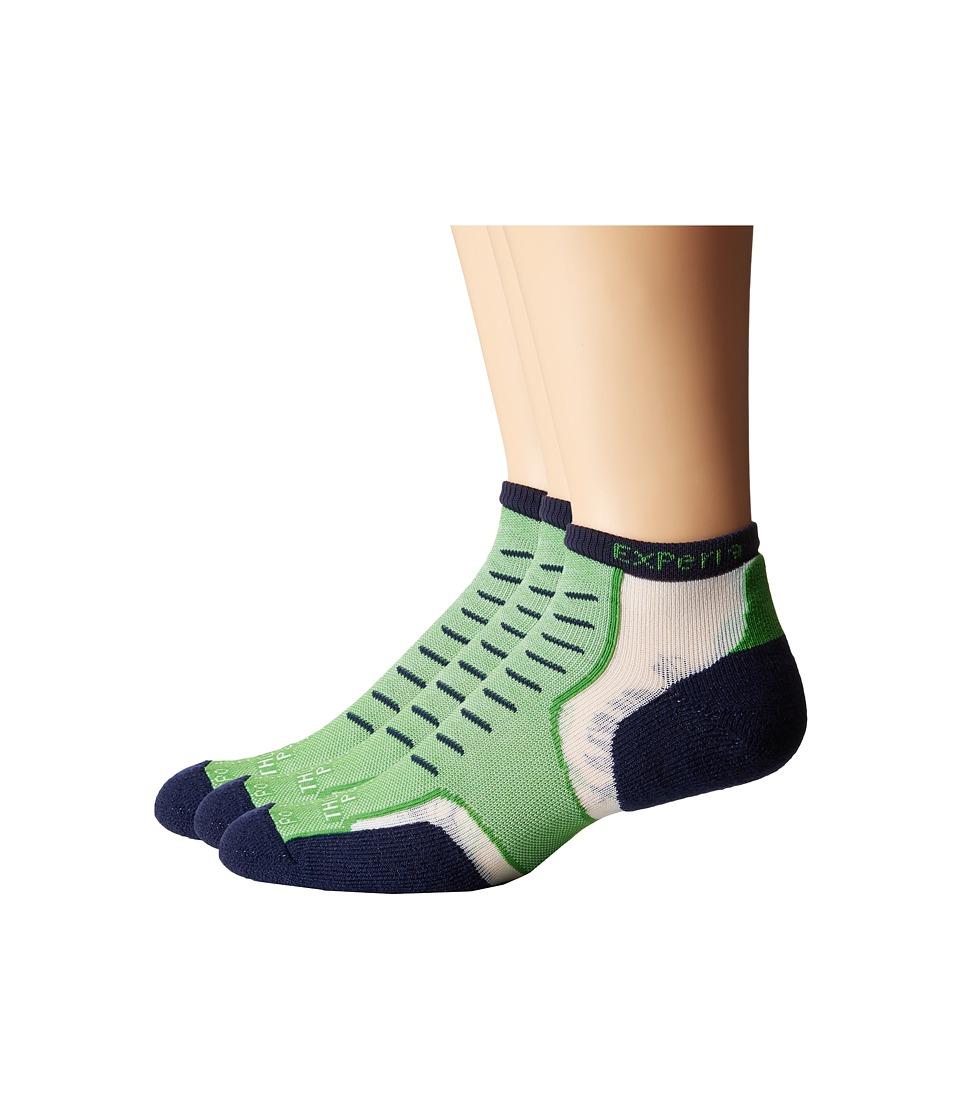 Thorlos Experia Nantucket Micro Mini 3 Pair Pack Newport Green Crew Cut Socks Shoes