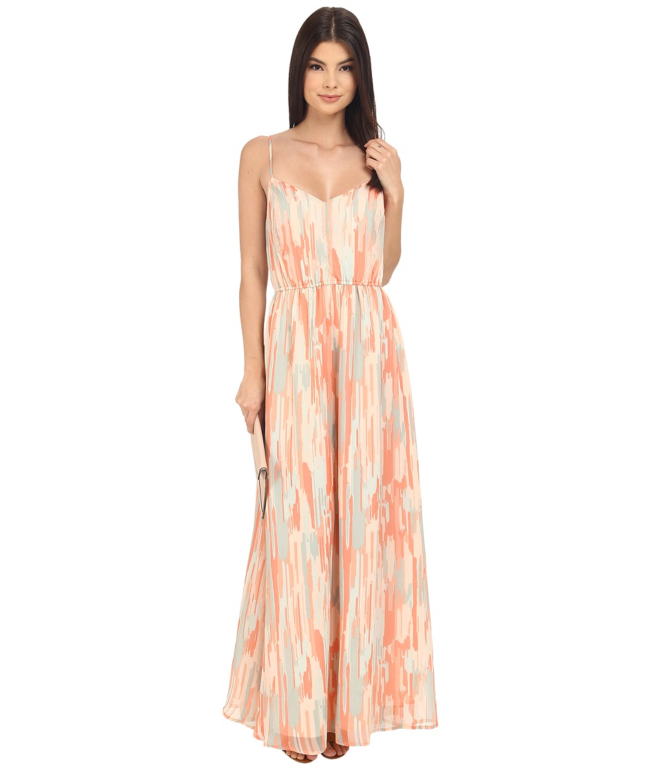 Jack by BB Dakota Hildy Whimsical Waterfall Printed Crinkle Chiffon Maxi Dress Multi Womens Dress