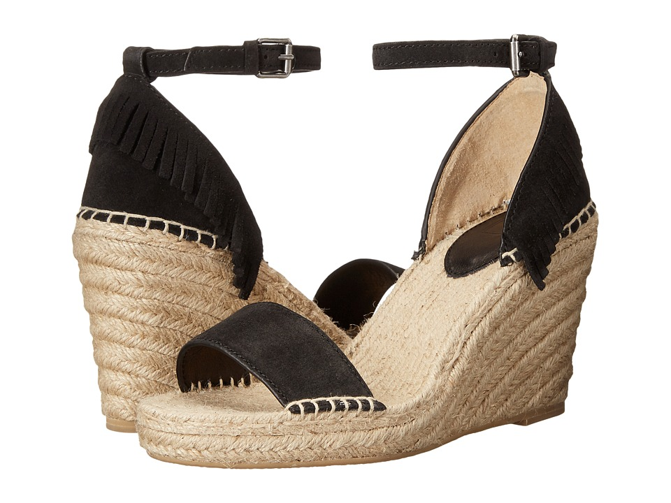 Frye Lila Feather Wedge Black Oiled Suede Womens Wedge Shoes