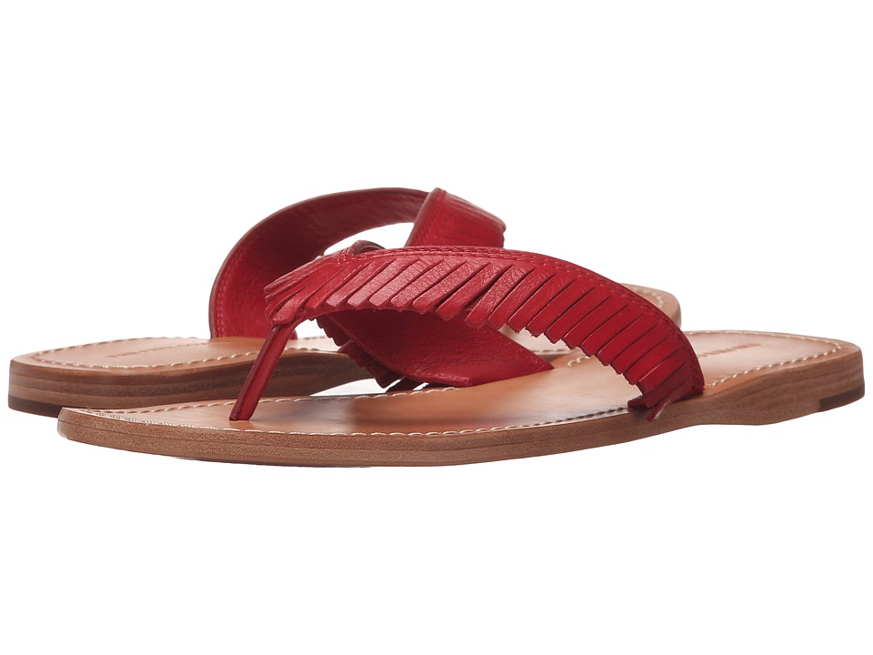 Frye - Perry Feathered Thong (Red Soft Vintage Leather) Women
