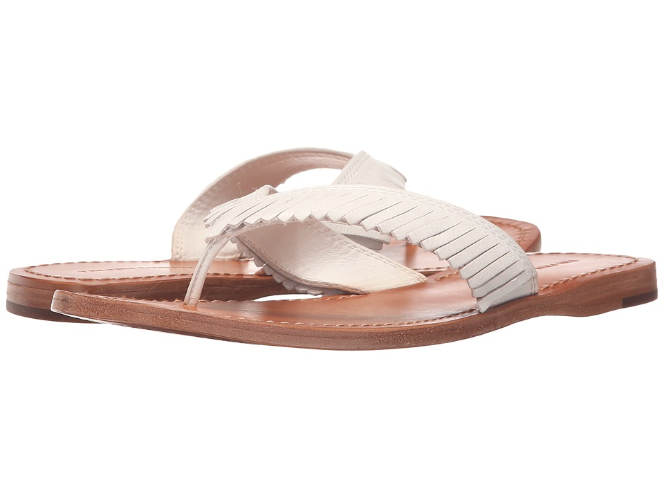 Frye - Perry Feathered Thong (White Soft Vintage Leather) Women