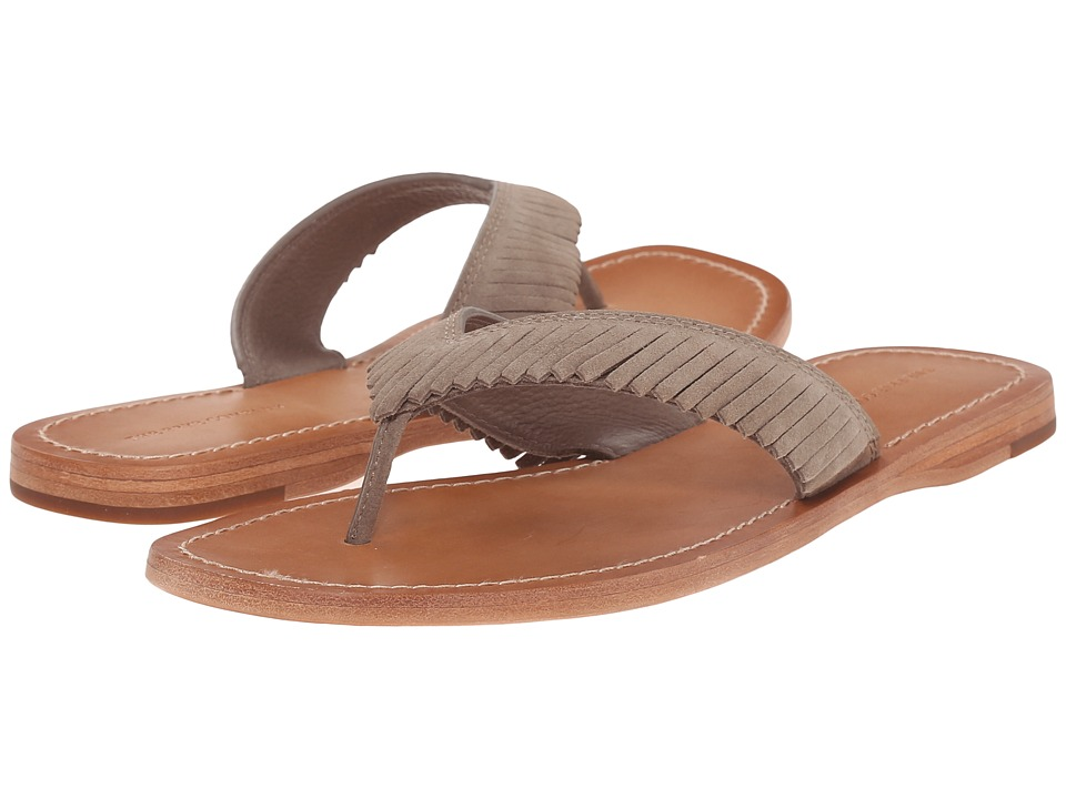 Frye - Perry Feathered Thong (Grey Oiled Suede) Women