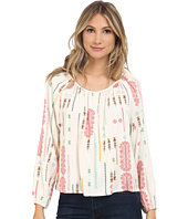 Jack by BB Dakota - Clifford Tribal Detail Printed Heavy Rayon Challi Peasant Top