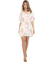 Jack by BB Dakota - Cecilia Tribal Detail Printed Light Rayon Challi and Lace Trim Dress