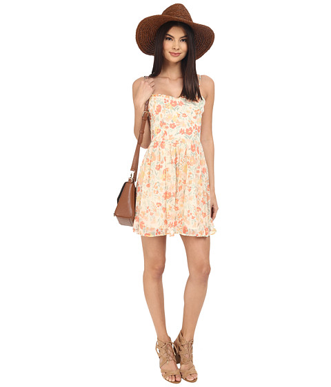 Jack by BB Dakota Correll Spring Meadows Printed Crinkle Chiffon Tie Back Fit and Flare Dress