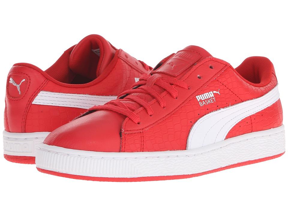 PUMA Basket Roses High Risk Red/White/Puma Silver Womens Shoes