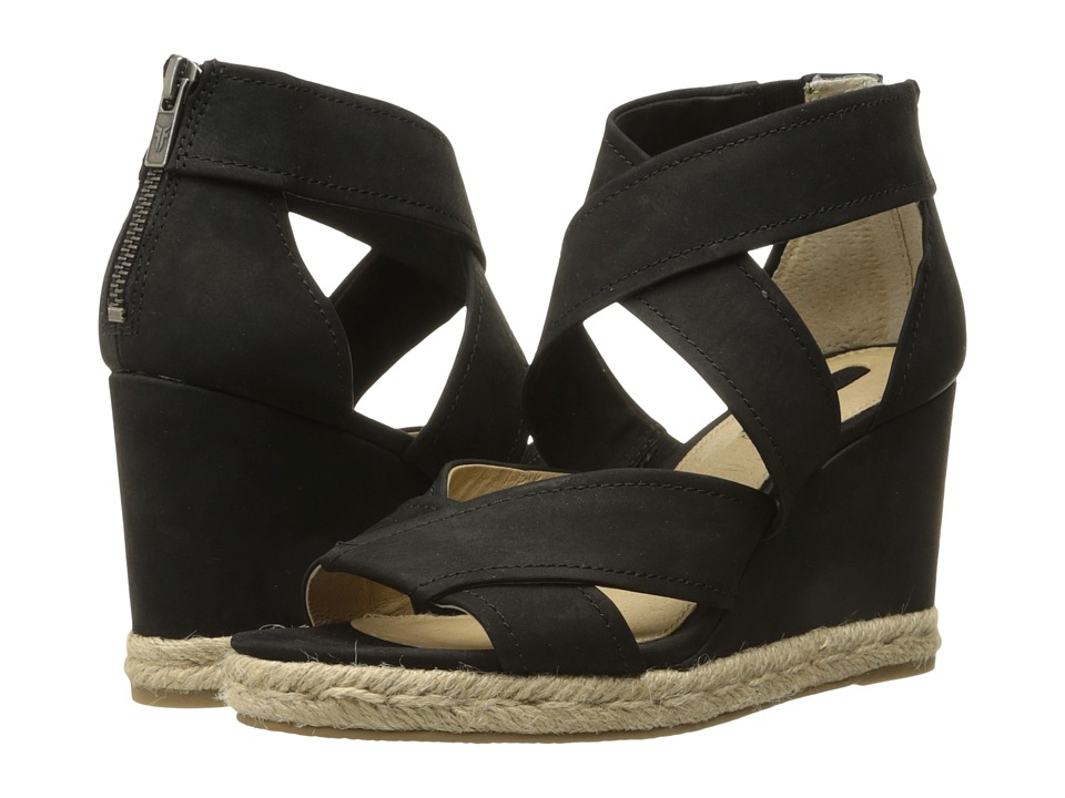 Frye Roberta Strap Wedge Black Soft Nubuck Womens Wedge Shoes