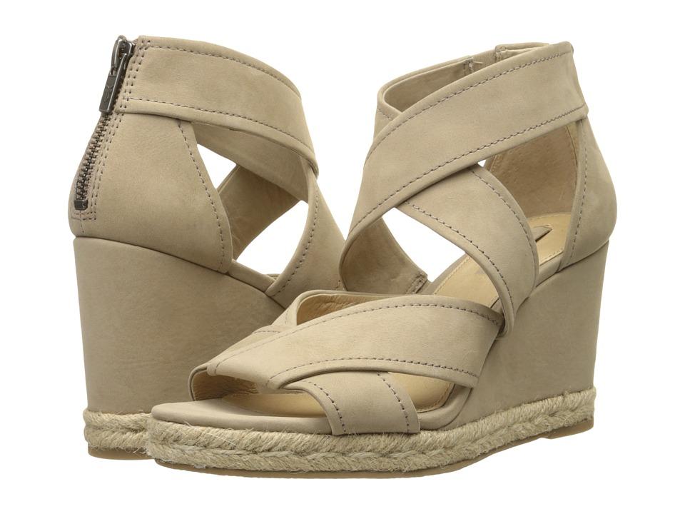 Frye Roberta Strap Wedge Cement Soft Nubuck Womens Wedge Shoes