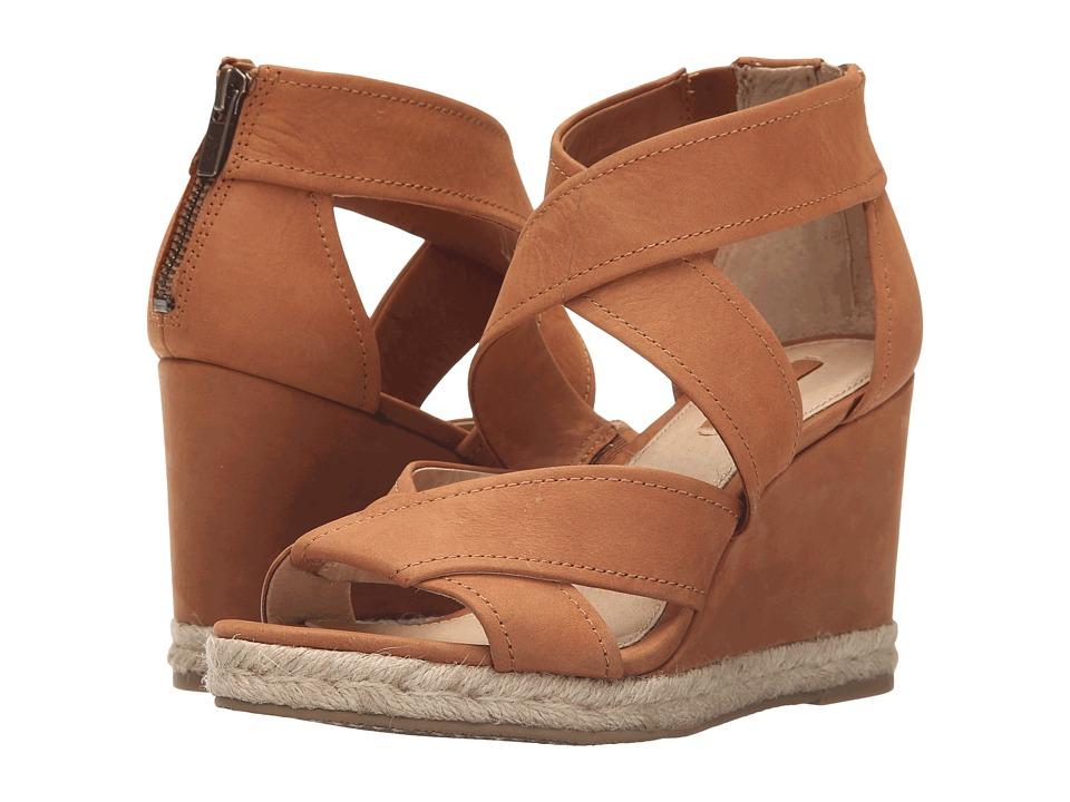 Frye Roberta Strap Wedge Nutmeg Soft Nubuck Womens Wedge Shoes