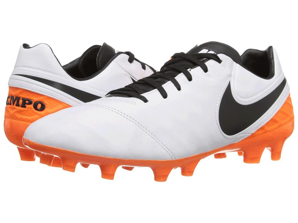 Nike - Tiempo Legacy II FG (White/Total Orange/Black) Mens Soccer Shoes
