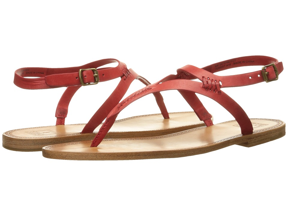Frye - Ruth Whipstitch Sandal (Red Smooth Full Grain) Women