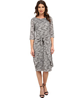 Sangria - 3/4 Midi Length Tie Waist Knit Sheath