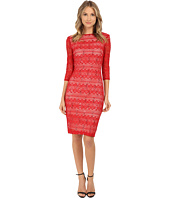 Sangria - 3/4 Sleeve Sequined Lace Midi Lace Sheath