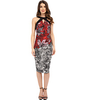 Sangria - Halter Neck Tropical Print Midi Length Scuba Sheath