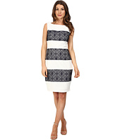 Sangria - Contrast Stripe Lace Sheath