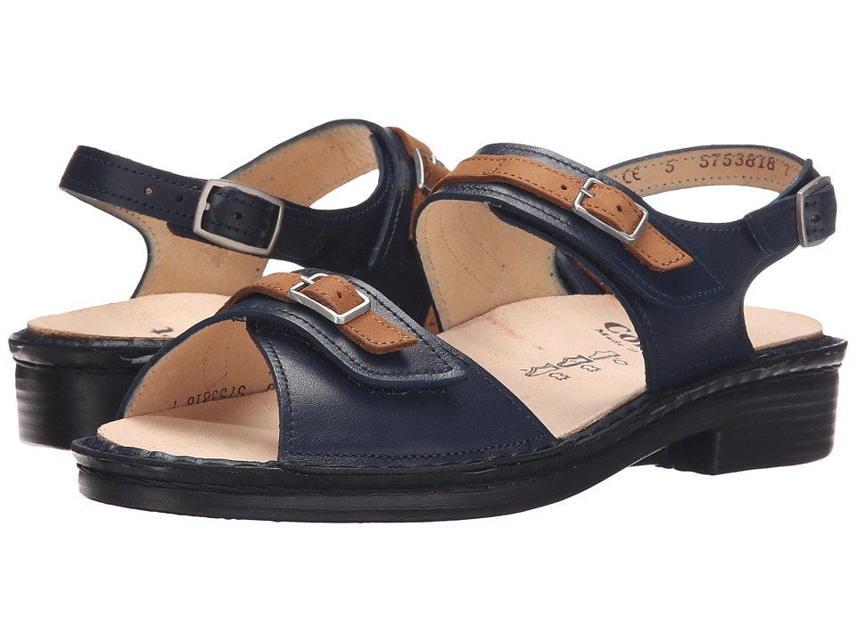 Finn Comfort - Sasso (Navy/Brown) Women's Sandals