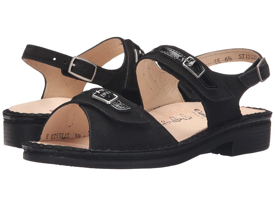 Finn Comfort Sasso Black Patent Womens Sandals