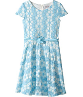 Us Angels - Daisy Lace Cap Sleeve Dress w/ Belt & Full Skirt (Big Kids)
