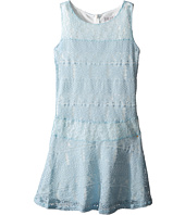 Us Angels - Striped Crochet Lace Sleeveless Fabric Color Block w/ Full Skirt (Big Kids)