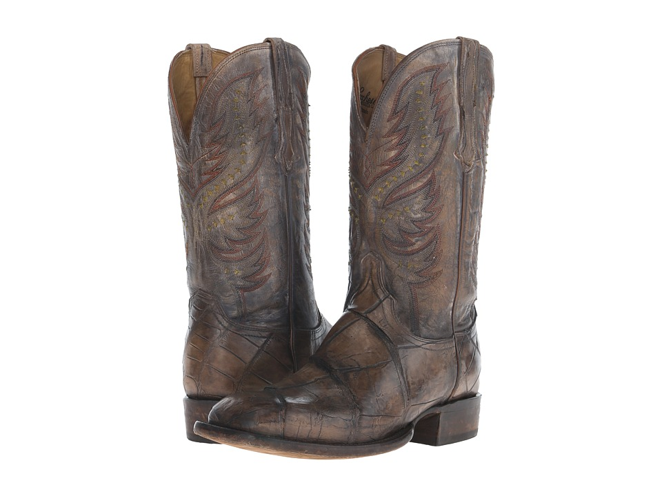 Lucchese Drake (Stonewash Tan Giant Alligator/Pearl Bone)...