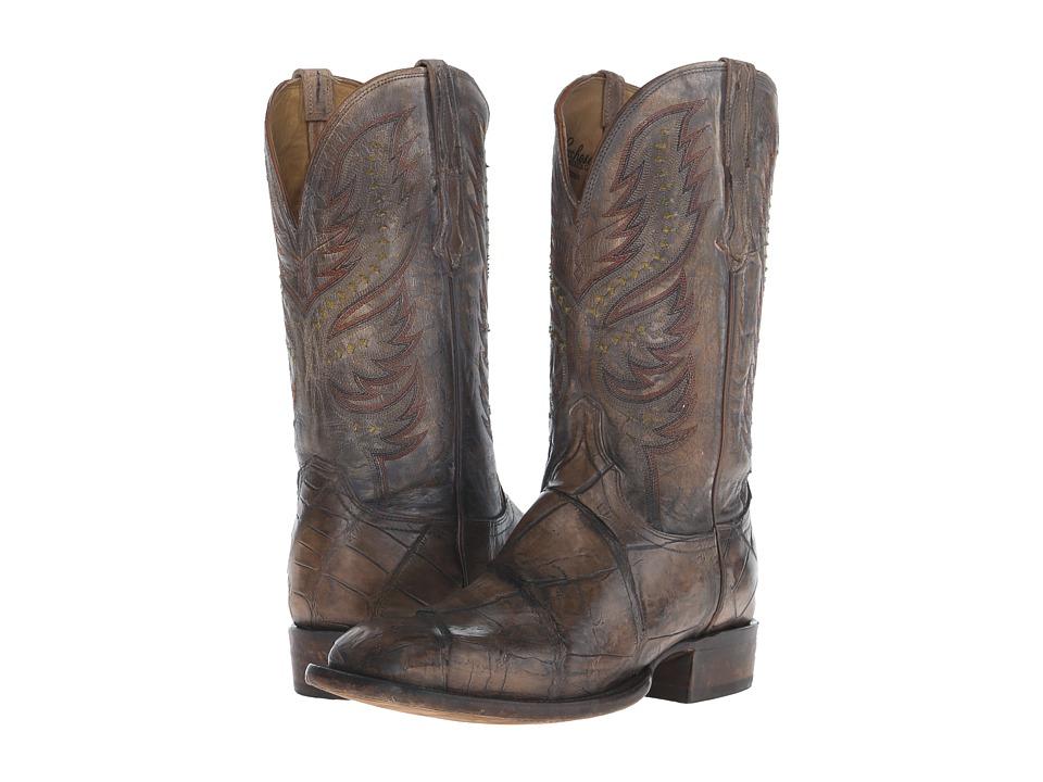Lucchese - Drake (Stonewash Tan Giant Alligator/Pearl Bone) Cowboy Boots