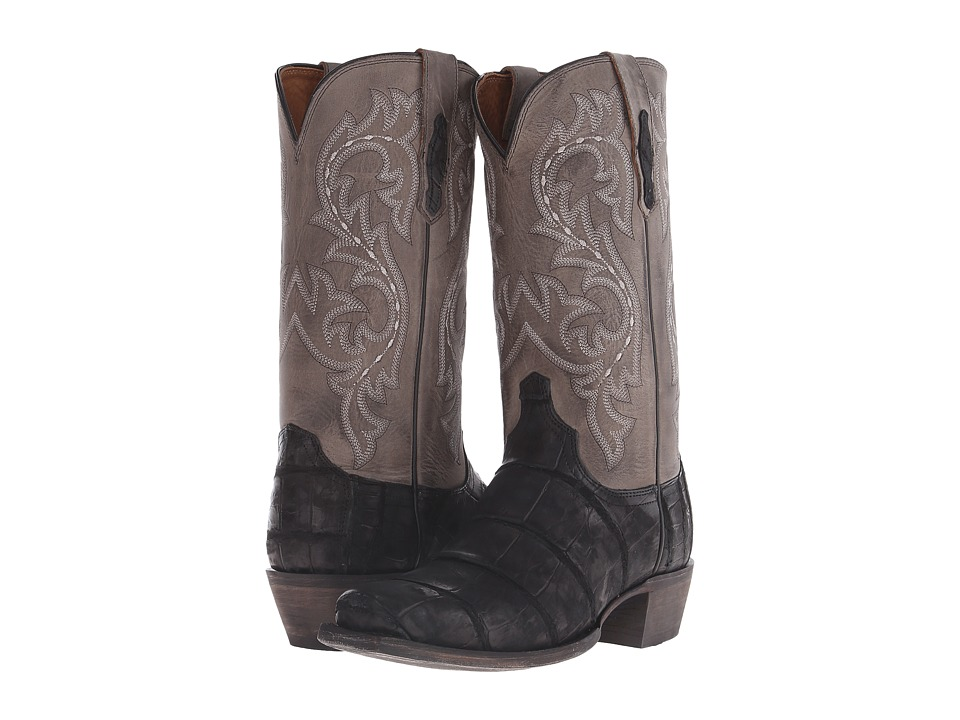 Lucchese Burke Black Giant Alligator/Charcoal Cowboy Boots