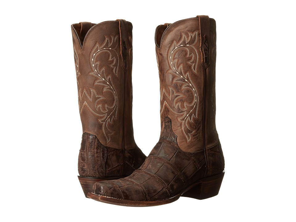 Lucchese Burke Chocolate Giant Alligator/Caf Cowboy Boots
