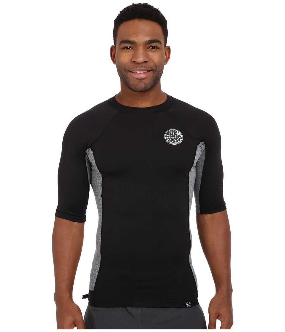 Rip Curl Aggrolite UV Tee Short Sleeve Black Mens Swimwear
